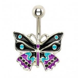 Oceľový piercing do pupka, trojfarebný glazúrovaný motýľ
