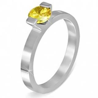 """Oceľový prsteň - farebný mesačný kameň """"November"""", dva úchyty - Veľkosť: 49 mm"""
