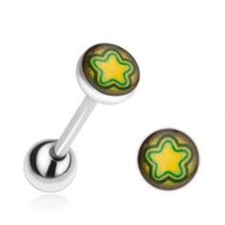 Piercing do jazyka z ocele, žlto-zelená hviezda
