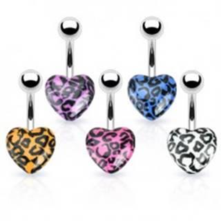 Piercing do pupka z ocele - farebné srdce s leopardím vzorom - Farba piercing: Biela
