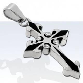 Prívesok z chirurgickej ocele, dvojfarebný kríž so štyrmi zirkónmi