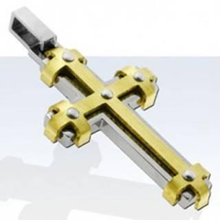 Prívesok z chirurgickej ocele, lesklý kríž s líniami zlatej farby