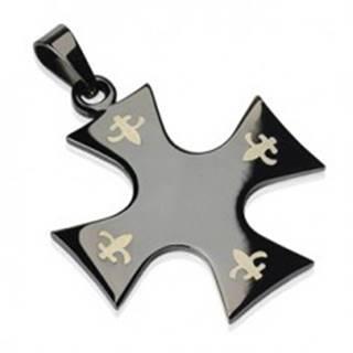 Prívesok z chirurgickej ocele - kríž čiernej farby, Fleur de Lis