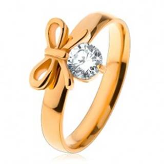 Prsteň z chirurgickej ocele v zlatej farbe, lesklá mašlička s čírym zirkónom - Veľkosť: 49 mm