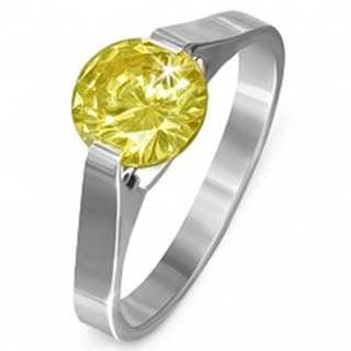 """Prsteň z ocele - kameň v žltej farbe """"November"""", postranné úchyty - Veľkosť: 50 mm"""