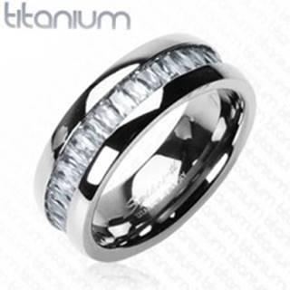 Titánový prsteň so vsadenými, obdĺžnikovými zirkónmi - Veľkosť: 51 mm