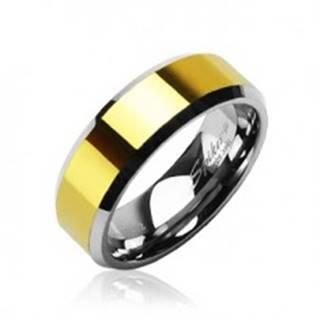 Tungstenová - Wolfrámová obrúčka stred zlatej farby - Veľkosť: 49 mm