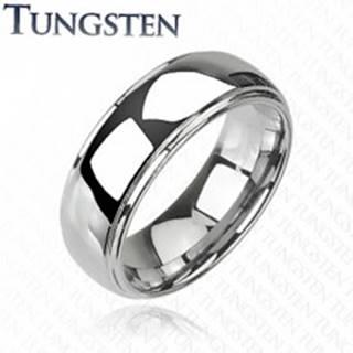 Tungstenový - Wolfrámový prsteň lesklý s vyvýšeným stredom - Veľkosť: 59 mm