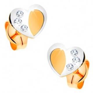 Zlaté 14K náušnice - dvojfarebné srdiečko s matným povrchom a lesklou kontúrou