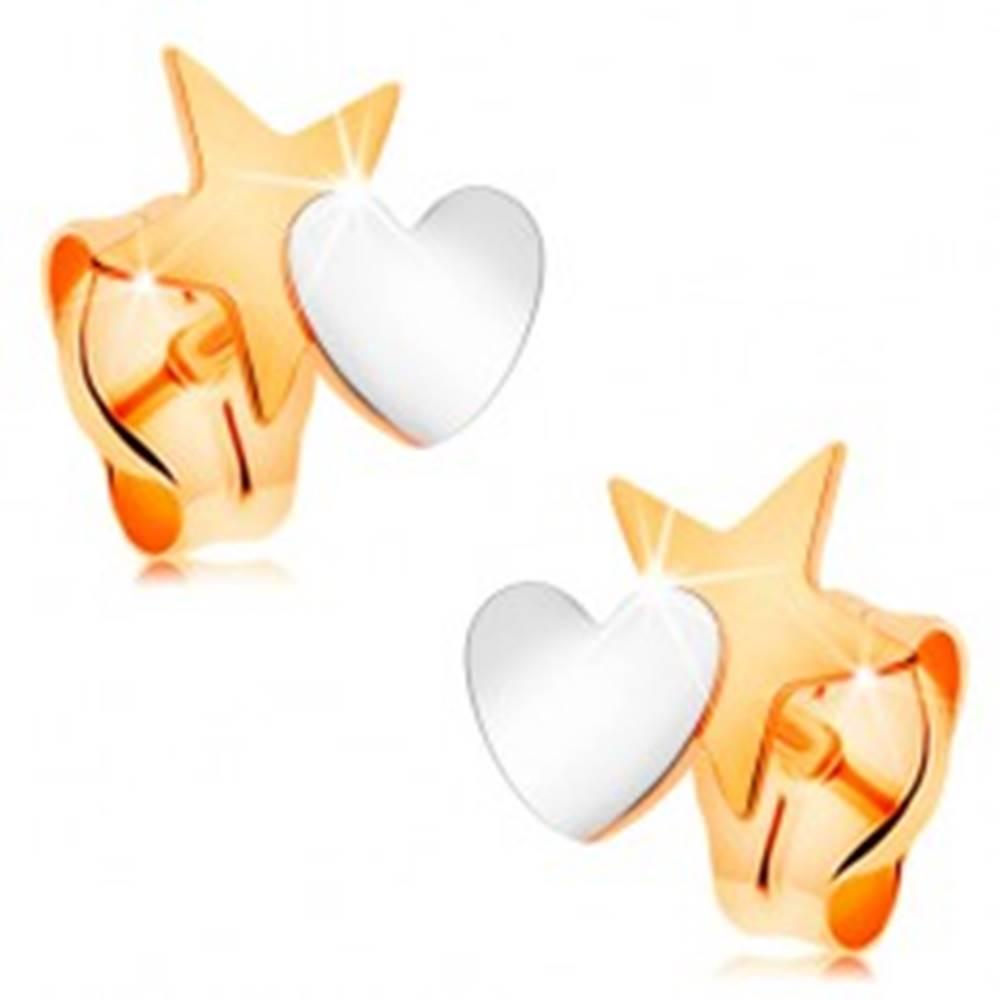 Šperky eshop Dvojfarebné náušnice zo 14K zlata - hviezda spojená so srdiečkom, puzetky