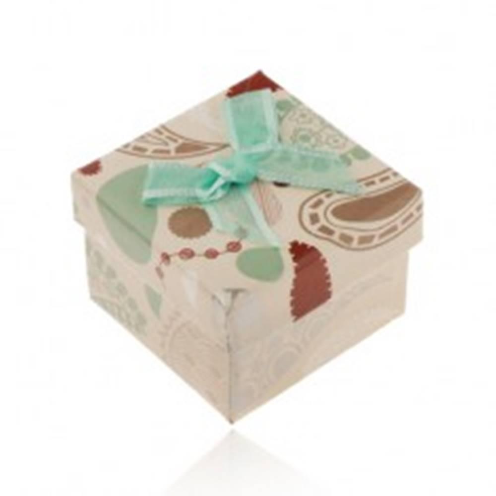 Šperky eshop Krabička na prsteň, prívesok alebo náušnice, béžová s farebnými vzormi, tyrkysová mašľa