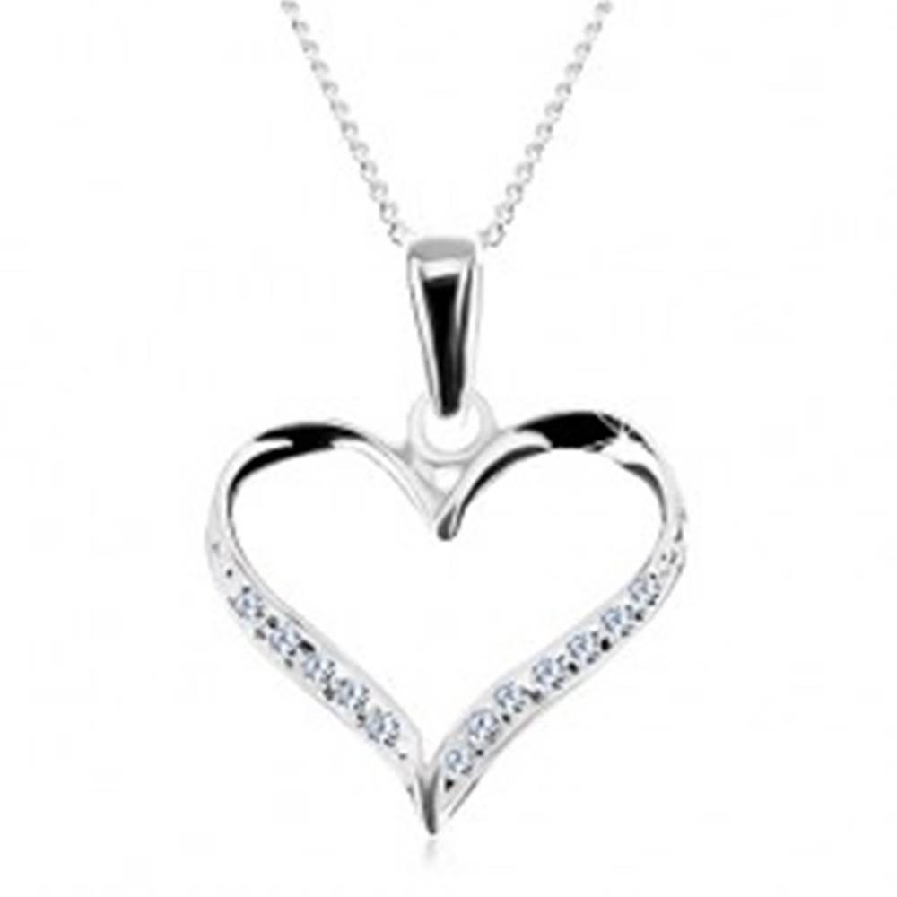 Šperky eshop Náhrdelník - retiazka a obrys asymetrického srdca, číre zirkóny, striebro 925