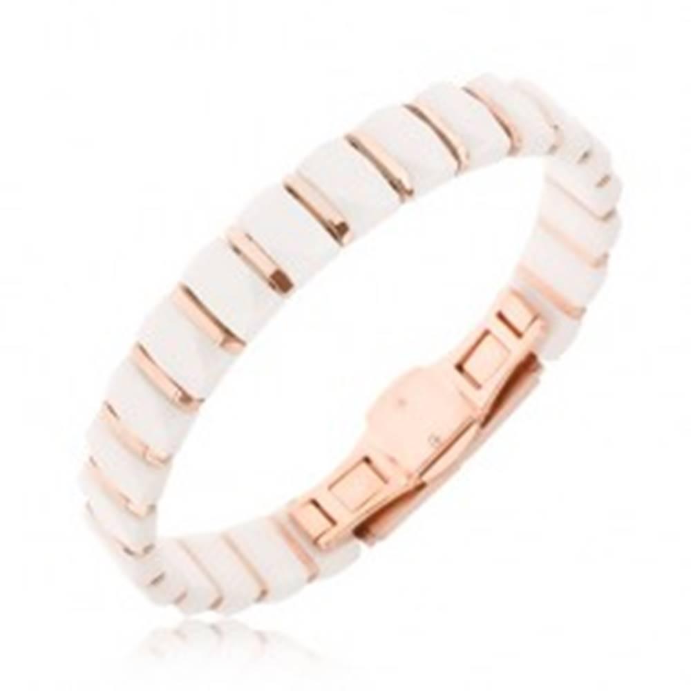 Šperky eshop Náramok - biele keramické obdĺžnikové články, pásiky zlatoružovej farby
