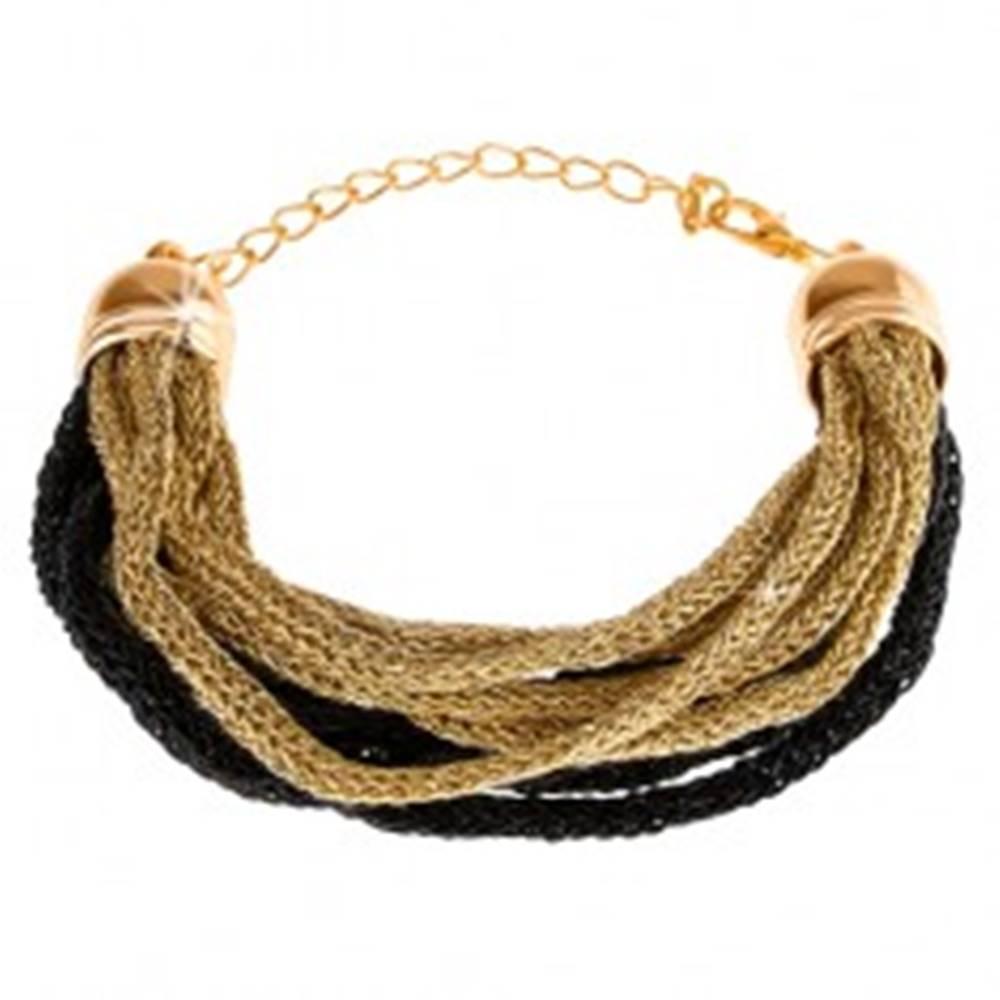 Šperky eshop Náramok, mäkké pletené vlákna, zlatý a čierny odtieň, karabínka