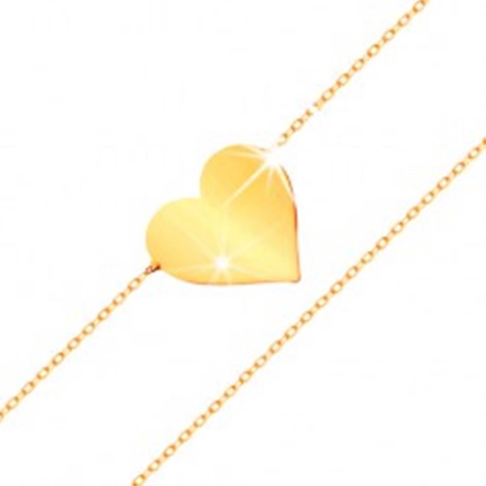Šperky eshop Náramok v žltom 14K zlate - zrkadlovolesklé ploché srdce, ligotavá tenká retiazka