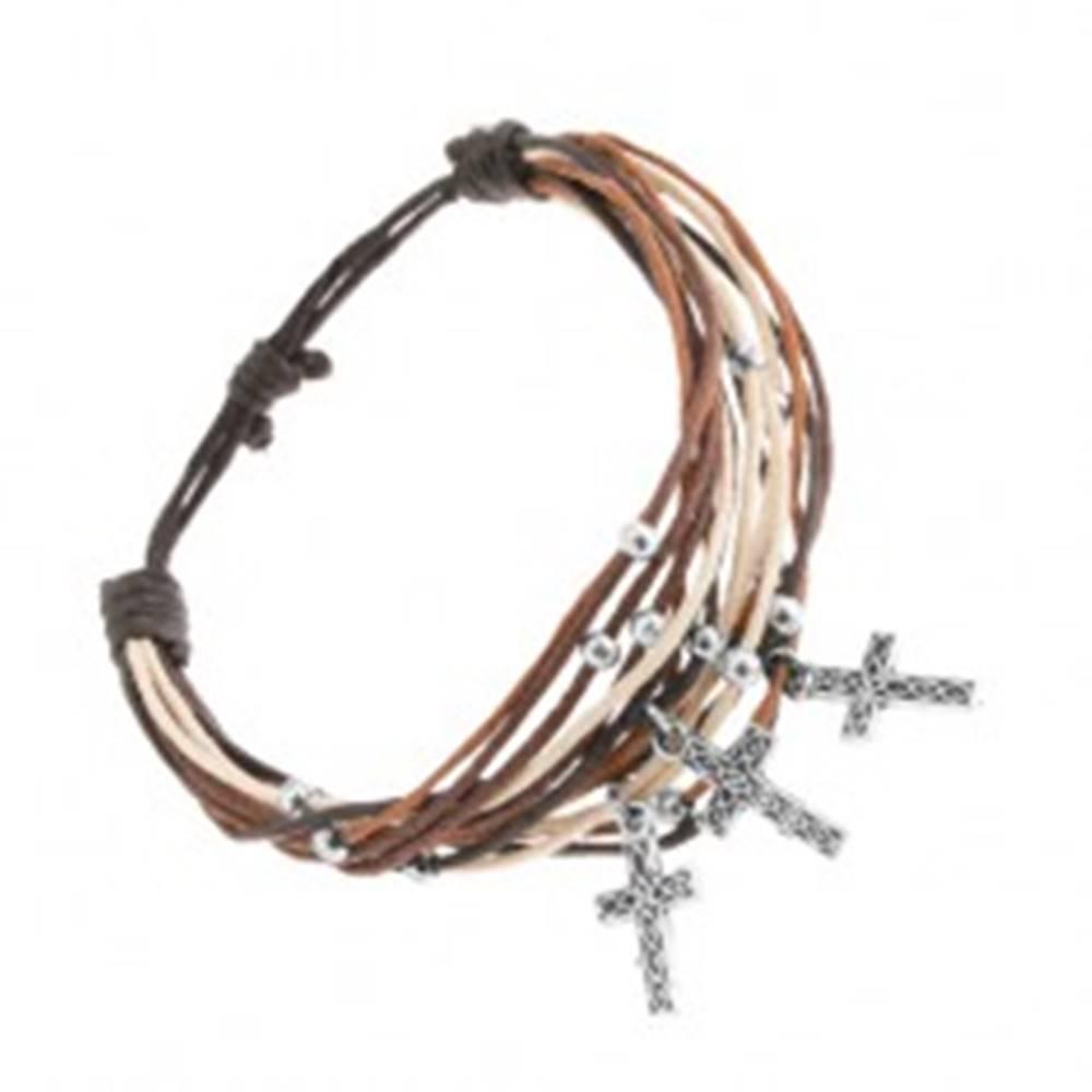 Šperky eshop Náramok zo šnúrok čiernej, bielej, škoricovej a hnedej farby, krížiky z ocele