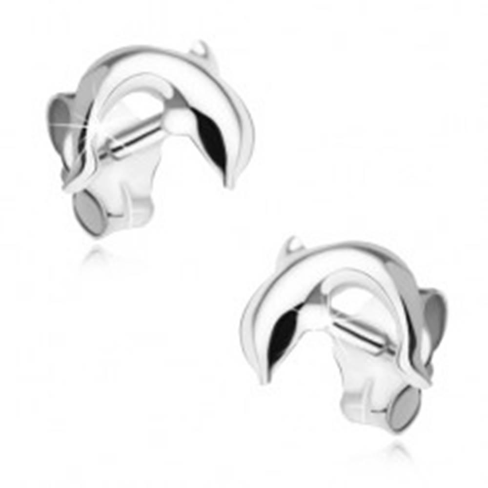 Šperky eshop Náušnice zo striebra 925, skáčuci delfín