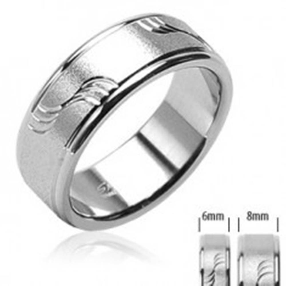 Šperky eshop Oceľová obrúčka pieskovaná s vlnkami a lesklými okrajmi - Veľkosť: 49 mm