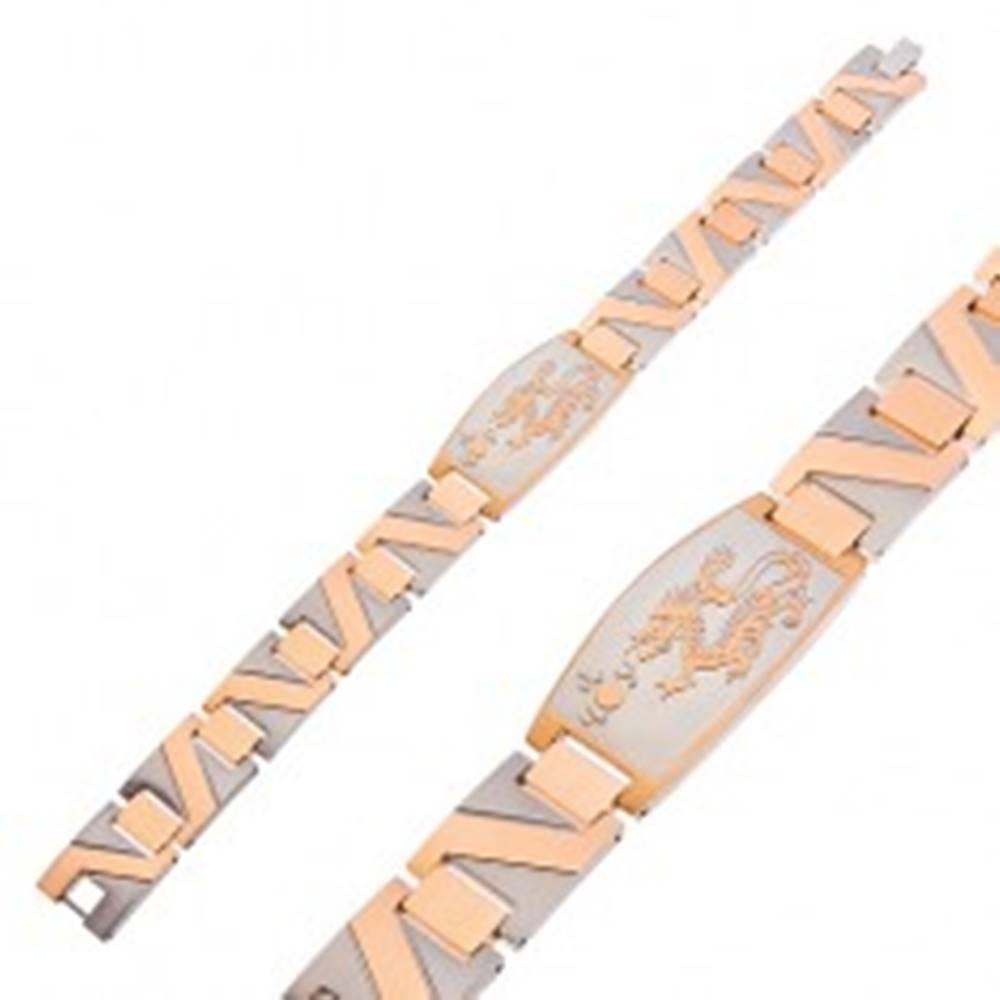 Šperky eshop Oceľový náramok s drakom a cik - cak pruhom zlatej farby