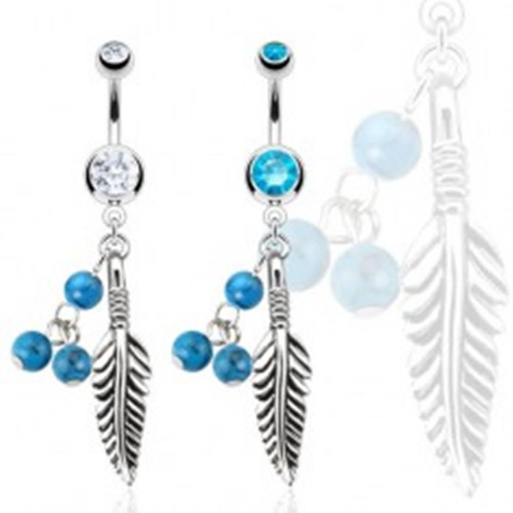 Šperky eshop Oceľový piercing do bruška, pierko a tri tyrkysové guličky - Farba zirkónu: Aqua modrá - Q