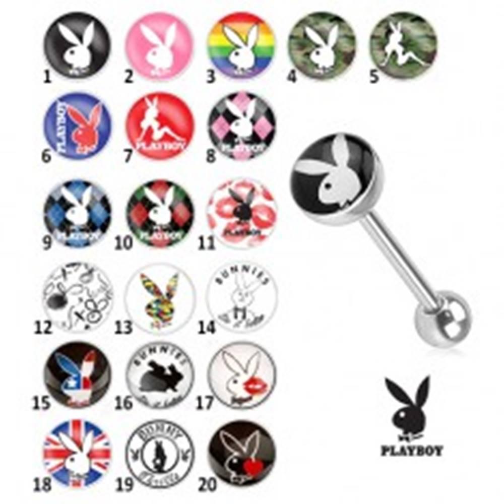 Šperky eshop Oceľový piercing do jazyka - rôzne motívy Playboy - Symbol: PB04
