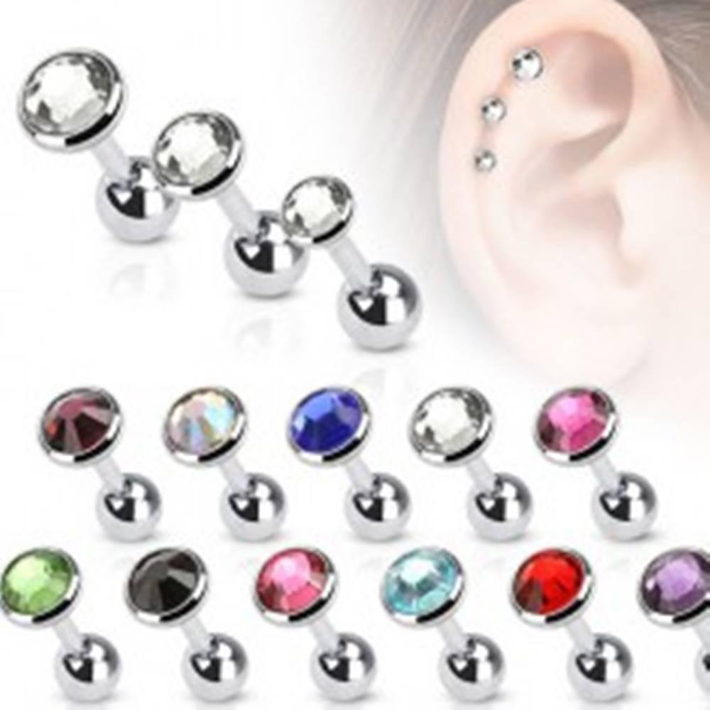 Šperky eshop Oceľový piercing do tragusu, okrúhla objímka so zirkónom, 4 mm - Farba zirkónu: Červená - R