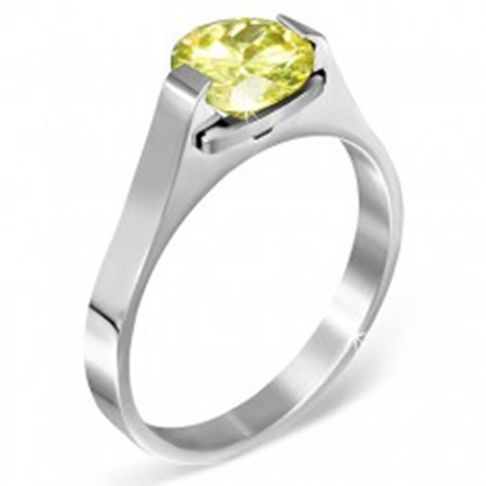 """Šperky eshop Oceľový prsteň - mesačný kameň """"November"""", postranné úchyty - Veľkosť: 50 mm"""