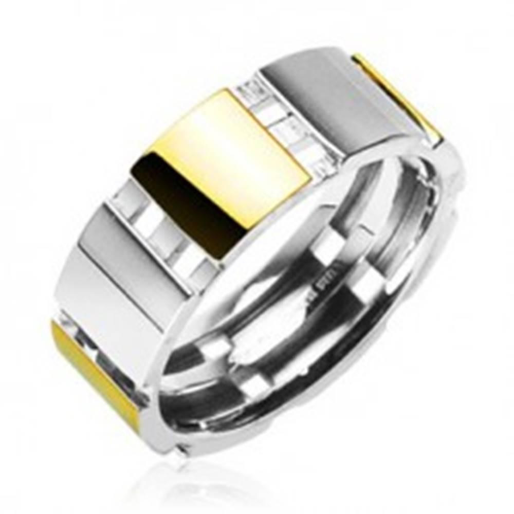 Šperky eshop Oceľový prsteň s časťami zlatej farby - Veľkosť: 58 mm