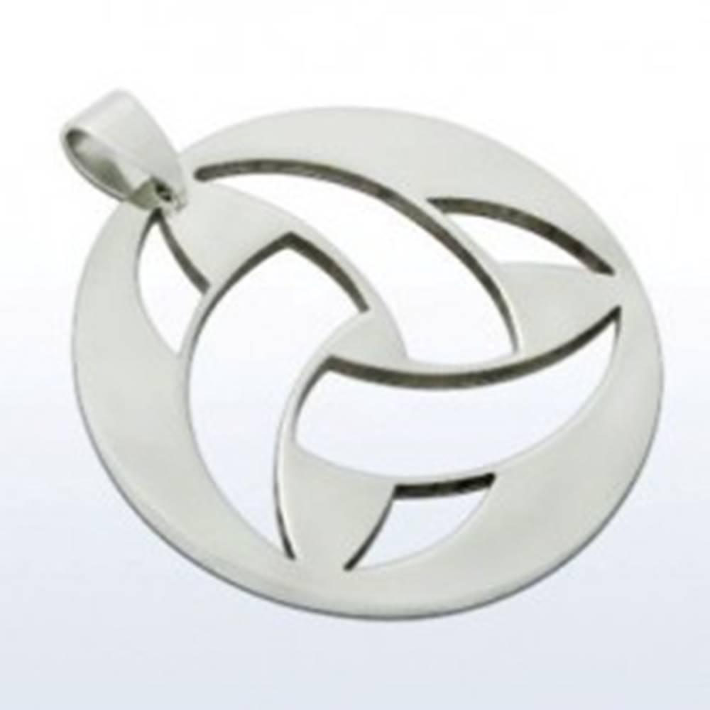 Šperky eshop Okrúhly prívesok z ocele 316L, výrezávaný keltský uzol, strieborná farba