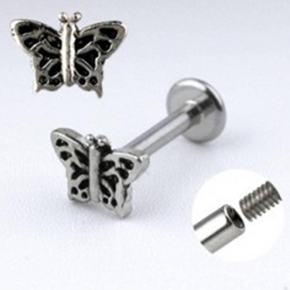 Šperky eshop Oceľový piercing do brady - motýlik s krídlami so zárezmi