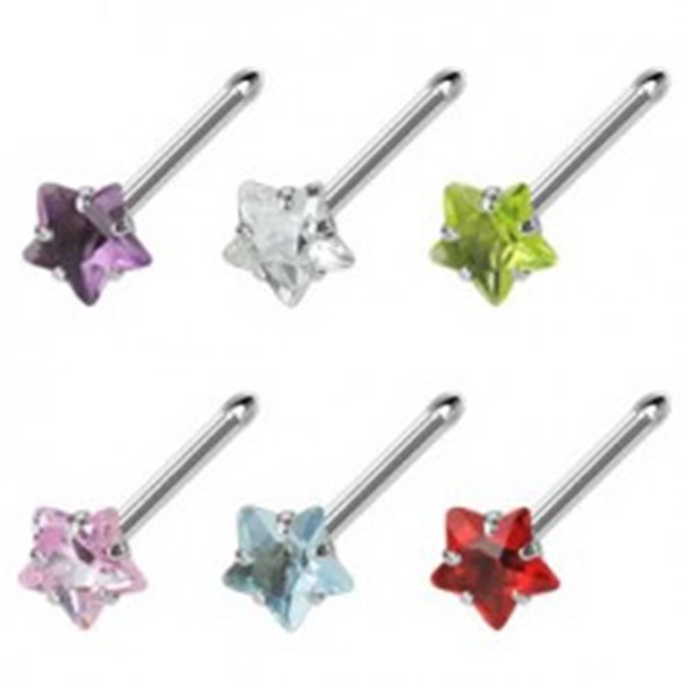 Šperky eshop Oceľový piercing do nosa s farebným zirkónom - hviezdička - Farba zirkónu: Aqua modrá - Q