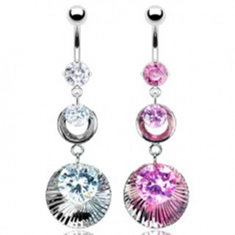Šperky eshop Piercing do pupku s dvojitou obručou vlnitou s troma zirkónmi - Farba zirkónu: Číra - C