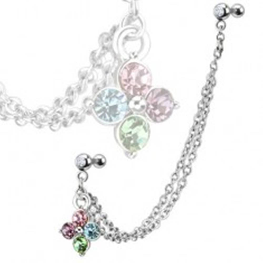 Šperky eshop Piercing do ucha z ocele, farebný zirkónový kvet, dvojitá retiazka