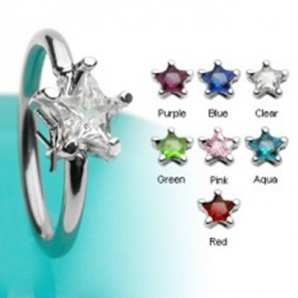 Šperky eshop Piercing krúžok s hviezdicovým zirkónom - Farba zirkónu: Aqua modrá - Q