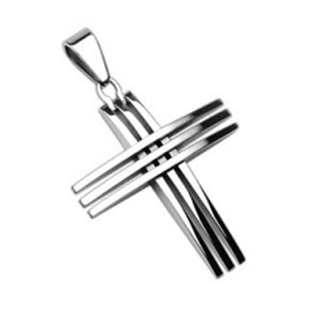 Šperky eshop Prívesok z chirurgickej ocele - kríž z lesklých tenkých línií