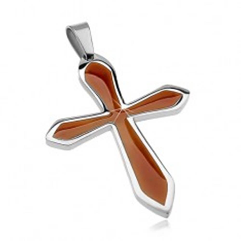Šperky eshop Prívesok z chirurgickej ocele v tvare kríža s hnedou glazúrou