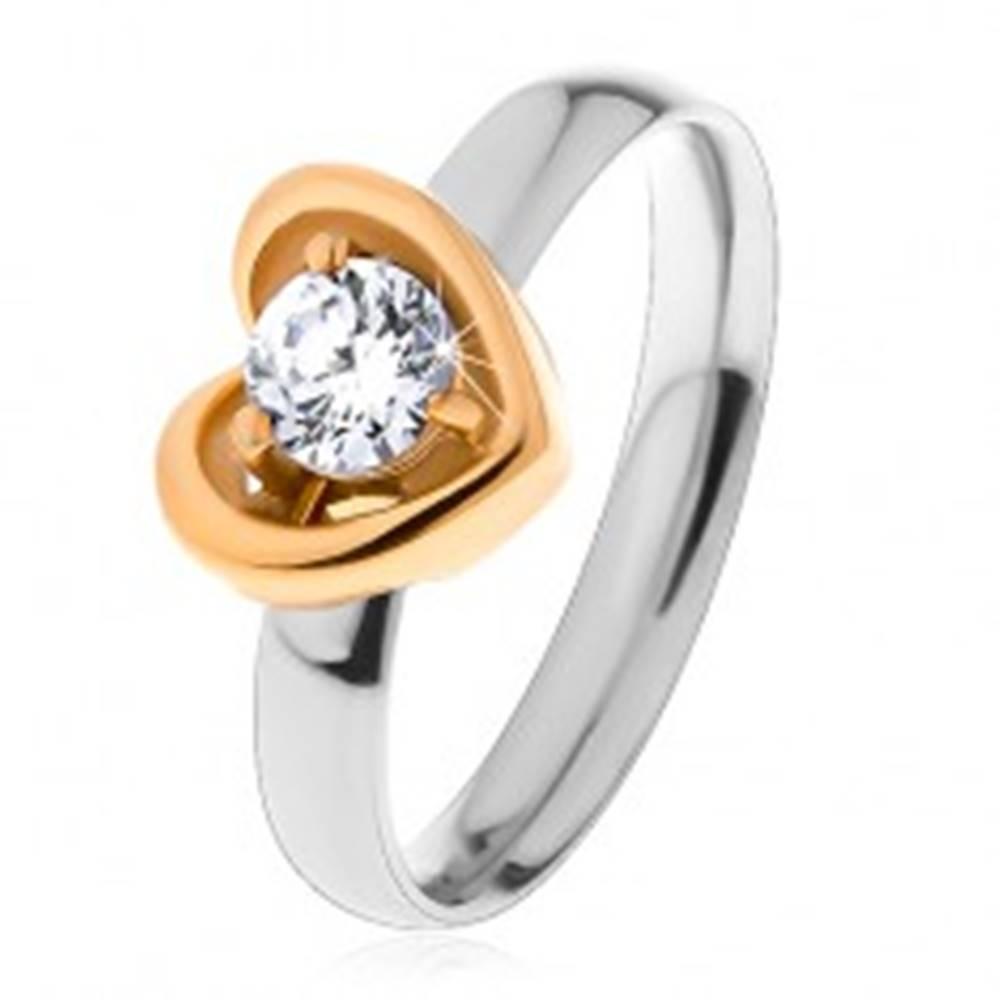 Šperky eshop Prsteň z ocele 316L - dvojfarebné prevedenie, kontúra srdca, číry zirkón - Veľkosť: 49 mm