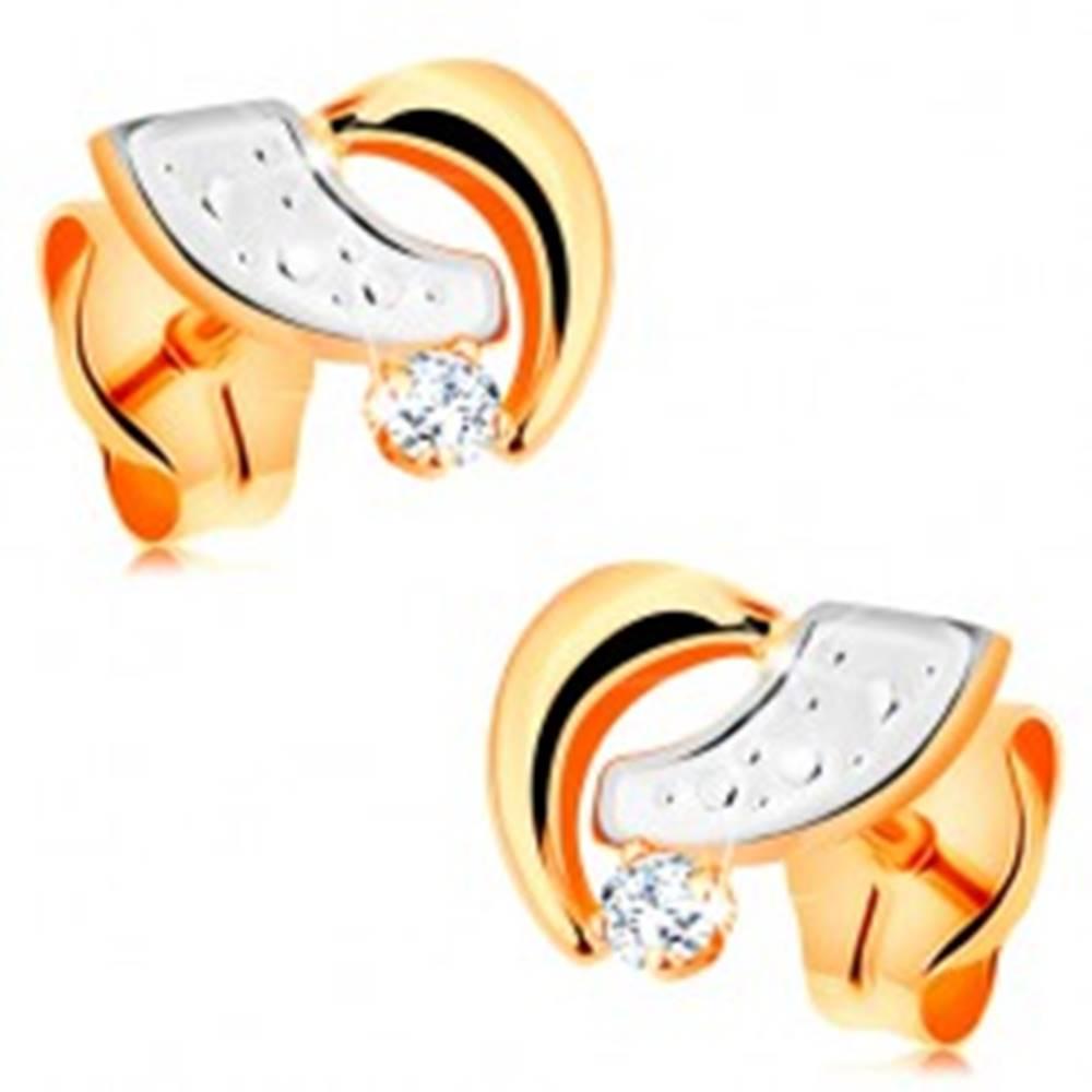Šperky eshop Puzetové náušnice zo 14K zlata - dvojfarebné oblúčiky a okrúhly číry zirkón