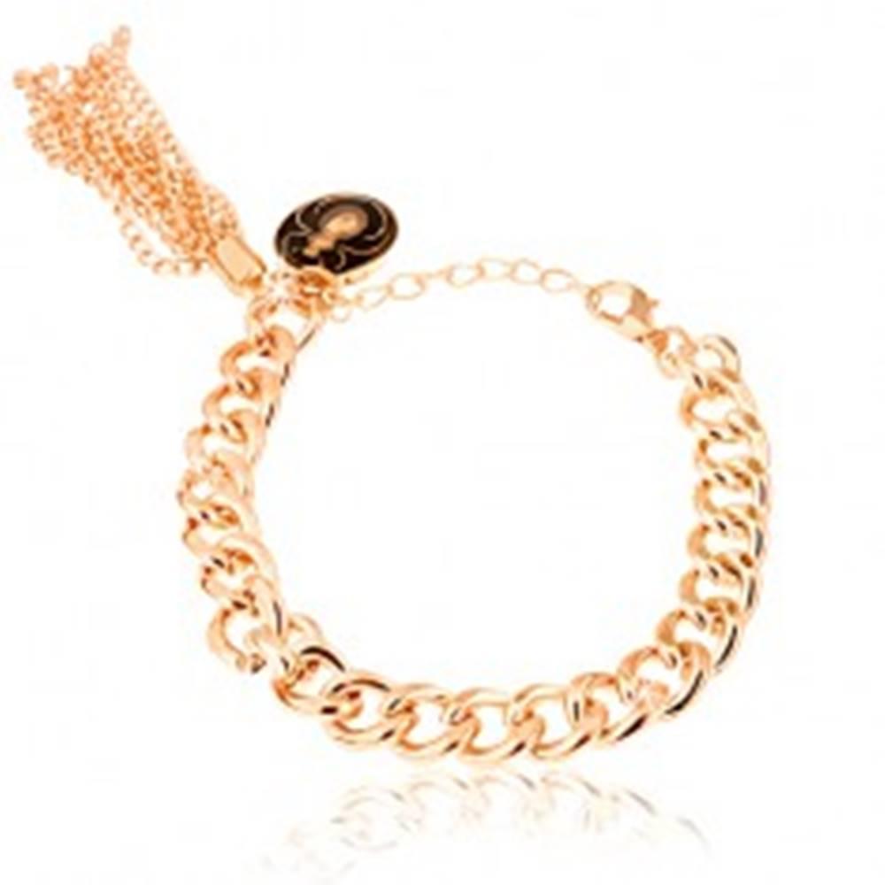 Šperky eshop Retiazkový náramok, zlatý odtieň, lesklý povrch, prívesok - obrázok pavúka