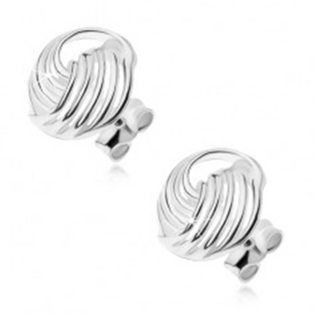 Šperky eshop Strieborné 925 náušnice, zatočené pásy z drôtikov