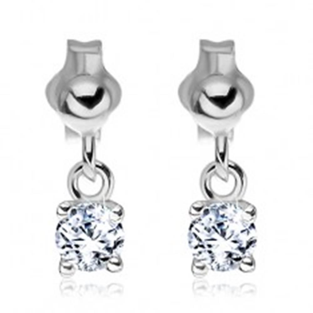 Šperky eshop Strieborné náušnice 925 - visiaci číry zirkón na puzetke, 4 mm
