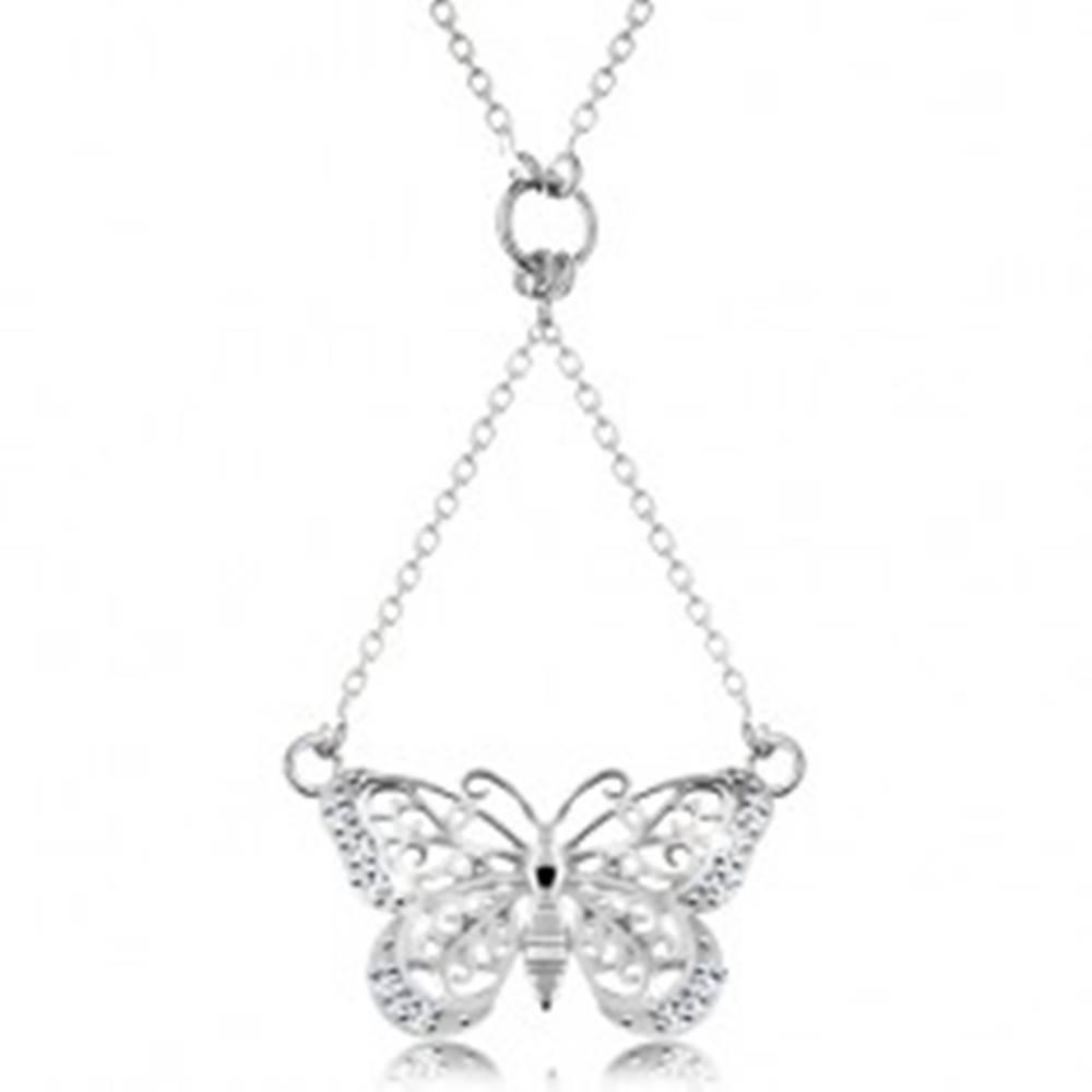 Šperky eshop Strieborný 925 náhrdelník, retiazka a prívesok - vyrezávaný motýlik