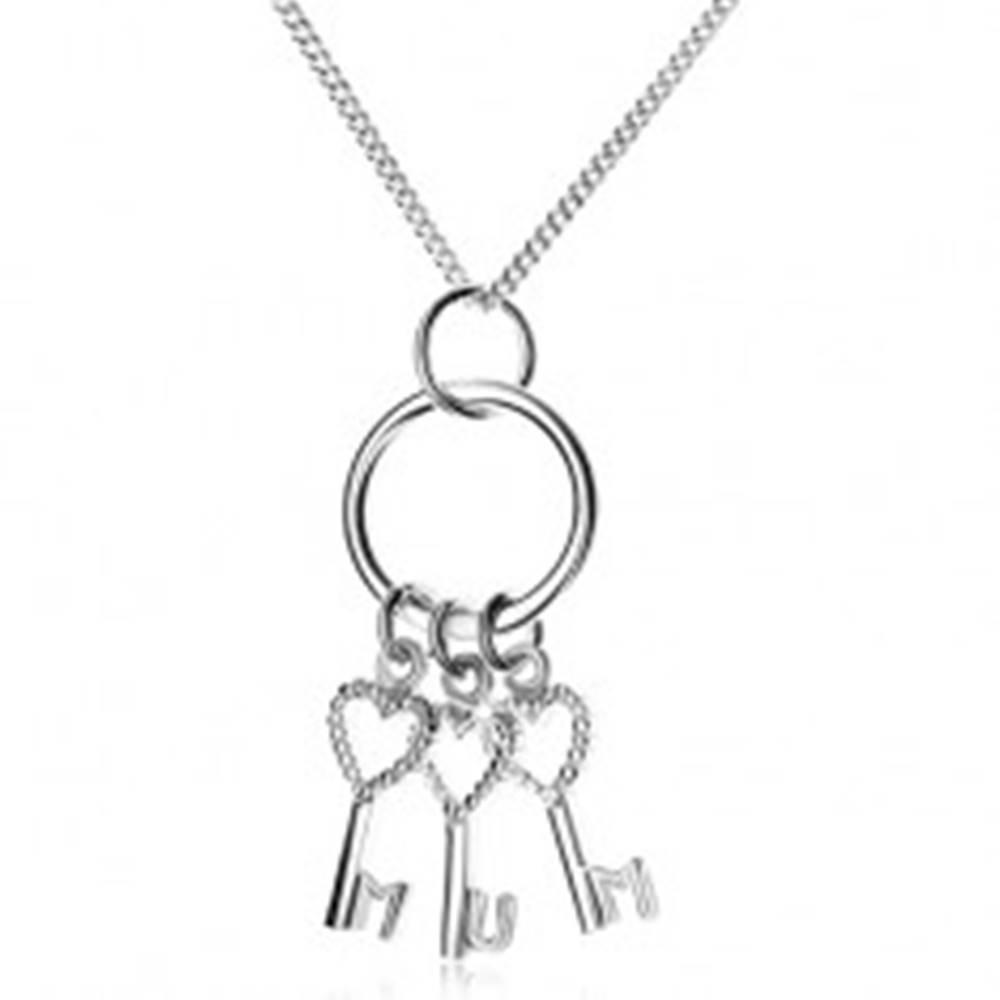 Šperky eshop Strieborný 925 náhrdelník - retiazka a tri kľúčiky na krúžku, MUM