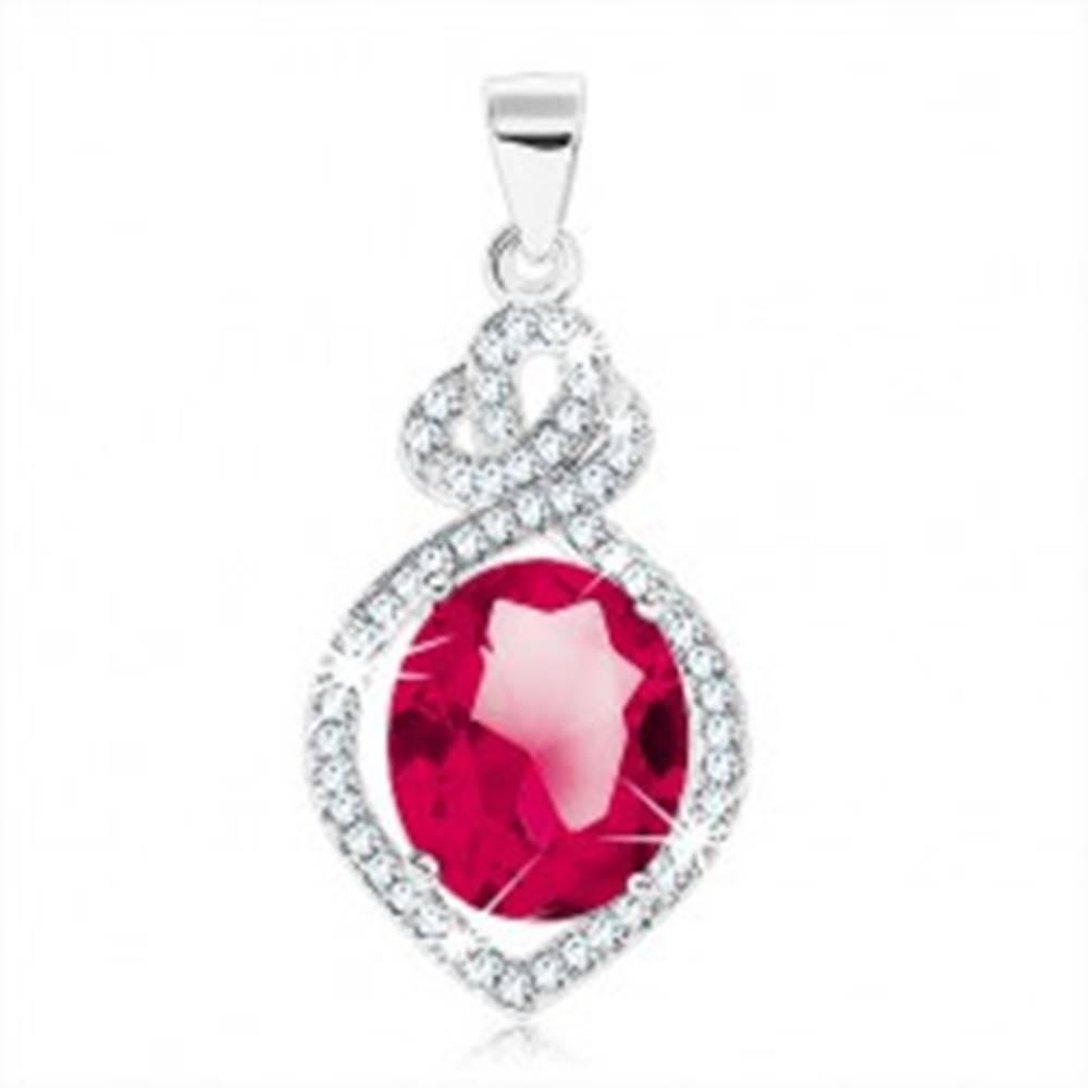 Šperky eshop Strieborný prívesok 925, oválny červenoružový zirkón v zrnku, číry obrys srdca