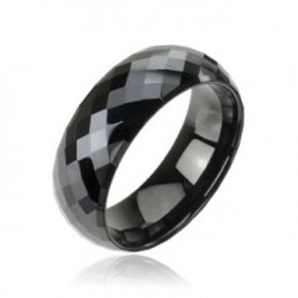 Šperky eshop Tungstenový - Wolfrámový prsteň čierny vzor disco - Veľkosť: 59 mm