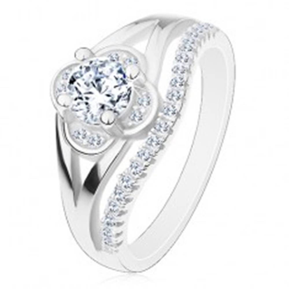 Šperky eshop Zásnubný prsteň, striebro 925, číry zirkónový kvietok a línia drobných zirkónov - Veľkosť: 49 mm