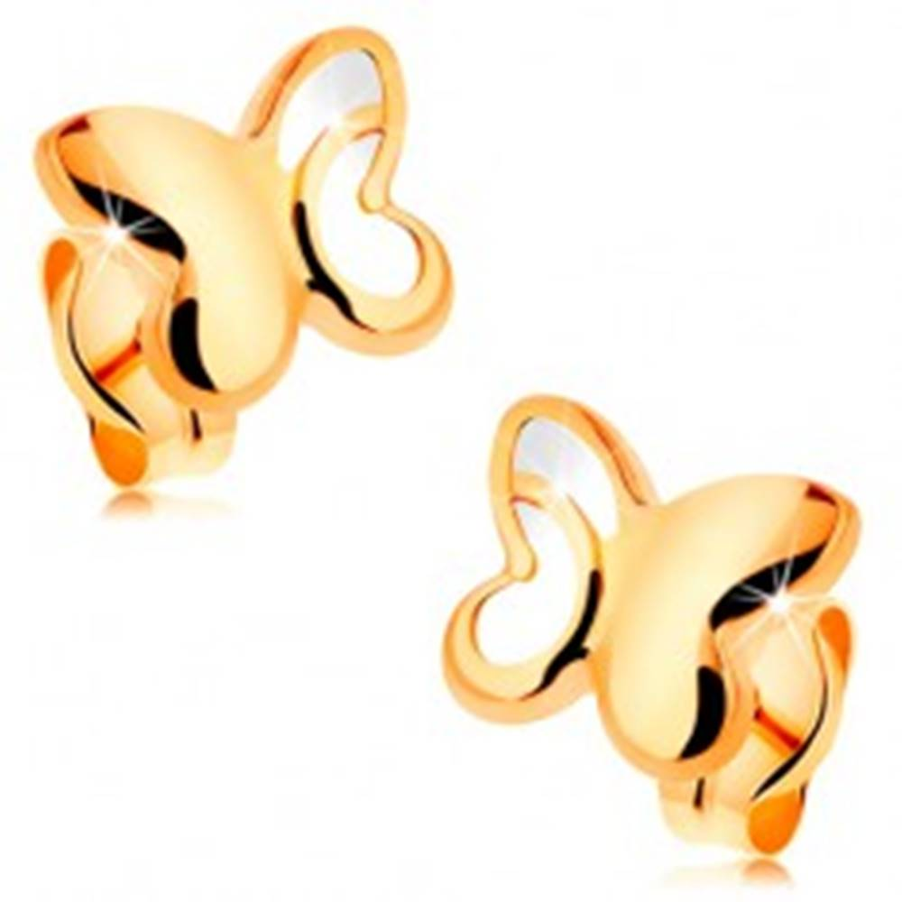 Šperky eshop Zlaté 14K náušnice - lesklý motýľ s vyrezávanou časťou na krídlach