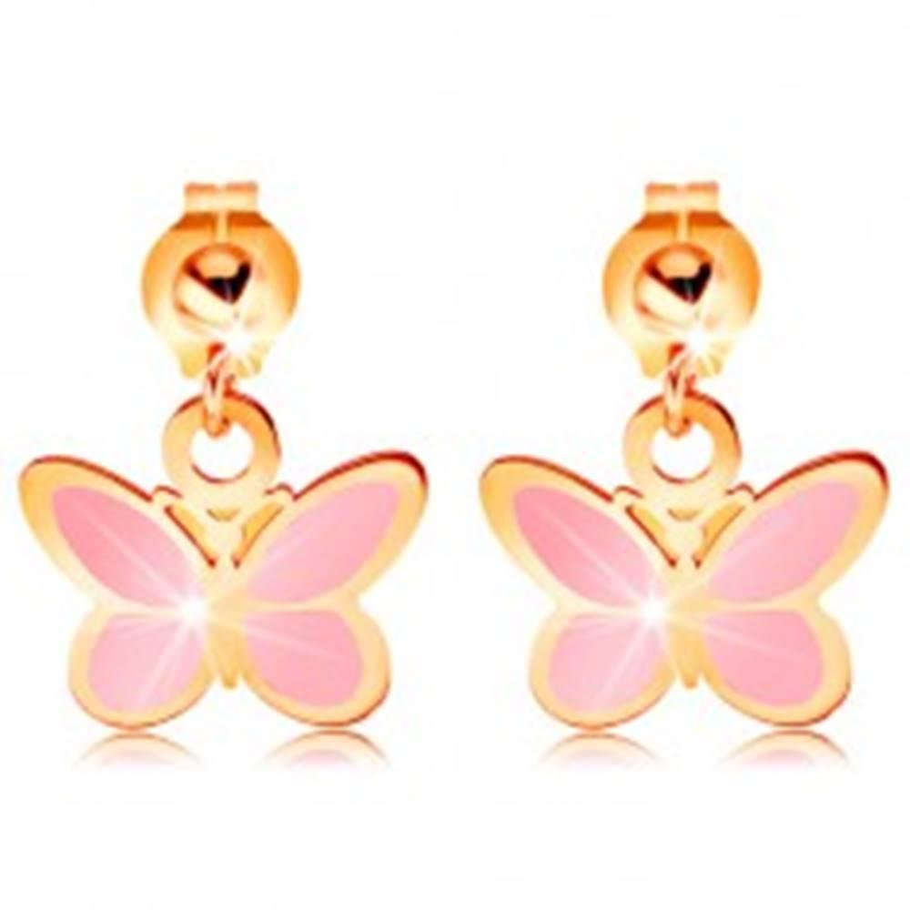 Šperky eshop Zlaté náušnice 585 - lesklá gulička a visiaci ružový motýlik, glazúra
