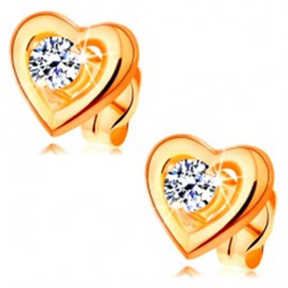 Šperky eshop Zlaté náušnice 585 - obrys súmerného srdiečka, vyvýšený číry zirkón v strede