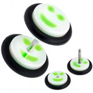 Fake plug do ucha z akrylu, bielo-zelený smajlík